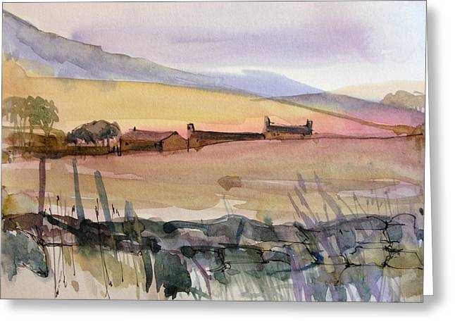 Heather Paintings Greeting Cards - December Moors Greeting Card by Annabel Burton