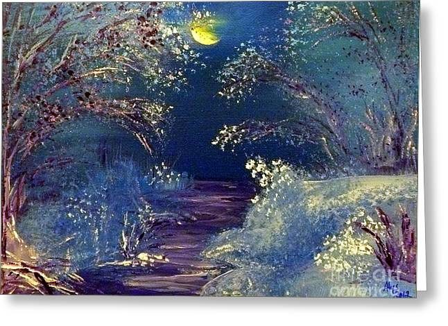 Indiana Rivers Paintings Greeting Cards - December Night Greeting Card by Alys Caviness-Gober