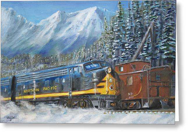 Freight Train Greeting Cards - December on Stampede Pass Greeting Card by Christopher Jenkins