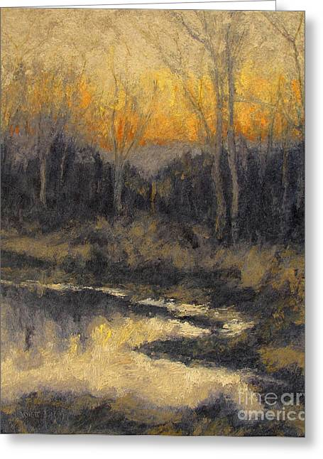 Gregory Arnett Paintings Greeting Cards - December Reflection Greeting Card by Gregory Arnett