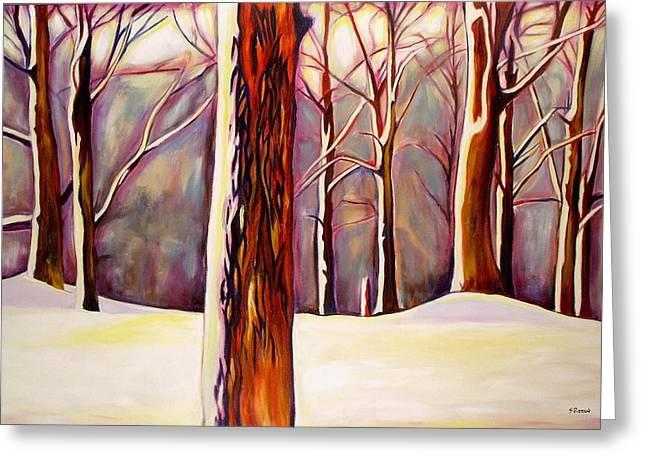 Sheila Diemert Paintings Greeting Cards - December Greeting Card by Sheila Diemert