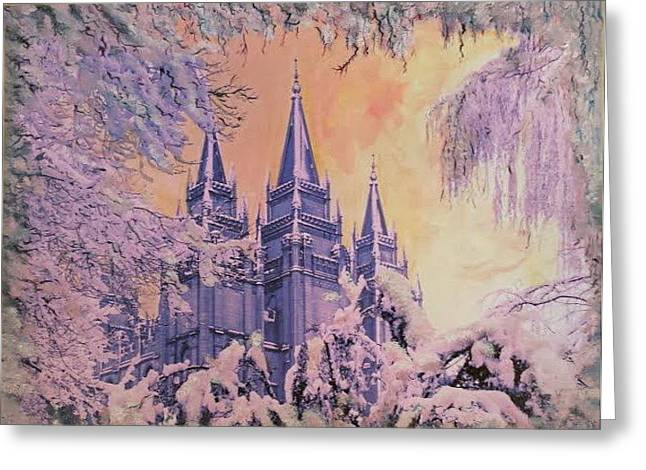 Slc Paintings Greeting Cards - December SLC Greeting Card by Brent Vall Peterson