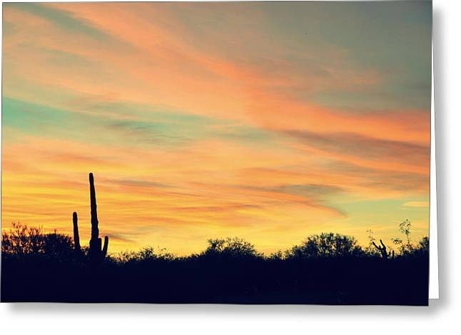 Jon Van Gilder Greeting Cards - December Sunset Arizona Desert Greeting Card by Jon Van Gilder