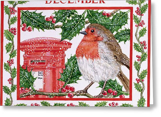 Pillar Box Greeting Cards - December Wc On Paper Greeting Card by Catherine Bradbury