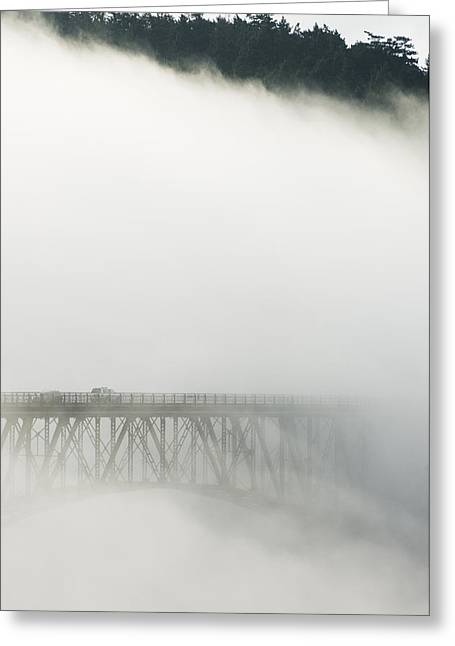 Deception Beach Greeting Cards - Deception Pass Bridge In Fog Whidbey Isl Greeting Card by Kevin Schafer