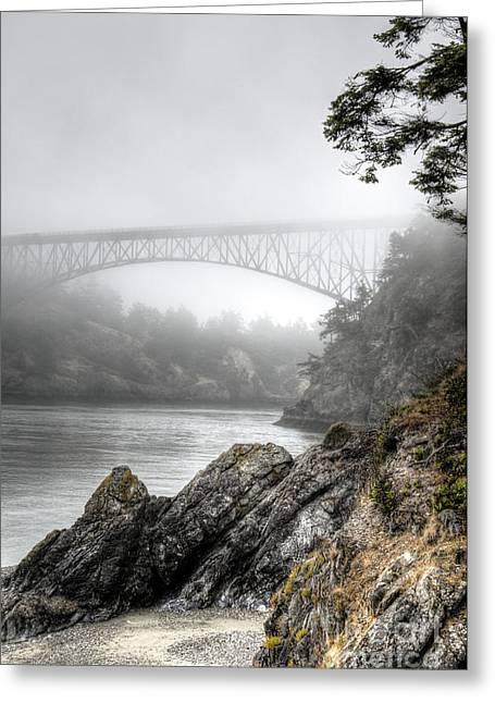 Deception Pass Bridge Greeting Card by Sarah Schroder