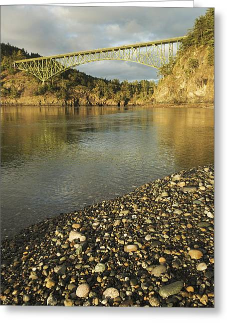 Deception Beach Greeting Cards - Deception Pass Bridge Whidbey Isl Greeting Card by Kevin Schafer