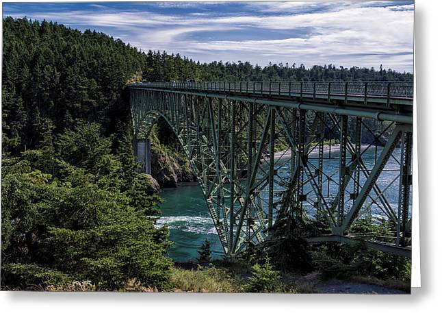 Bay Bridge Greeting Cards - Deception Pass Greeting Card by Joan Carroll