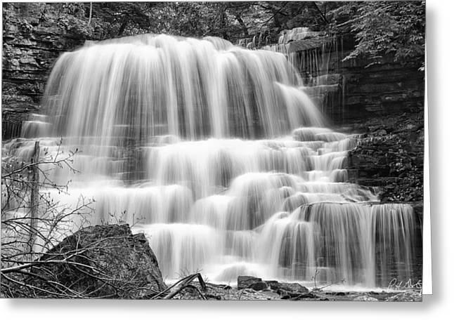 Escarpment Greeting Cards - DeCew Falls in Black and White Greeting Card by Phill  Doherty
