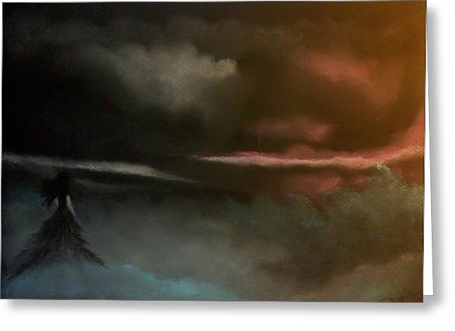 Dark Skies Pastels Greeting Cards - Decision Greeting Card by Duka Lourdes Aguirre