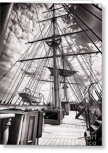 New England Village Greeting Cards - Deck and Masts Greeting Card by George Oze