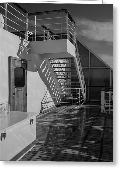Wooden Stairs Greeting Cards - Sports Deck Stairway - b/w Greeting Card by Marilyn Wilson