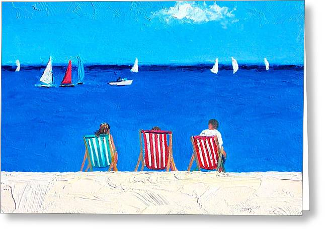 Brighton Beach Greeting Cards - Deck Chair View Greeting Card by Jan Matson