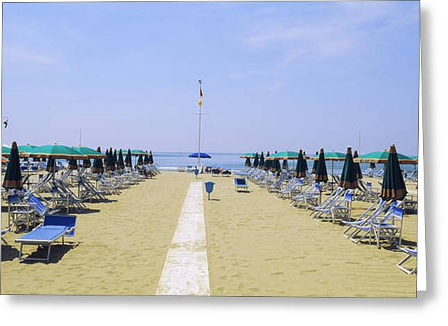 Deck-chair Greeting Cards - Deck Chairs And Umbrellas On The Beach Greeting Card by Panoramic Images