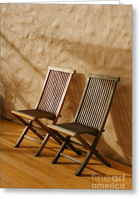 Empty Chairs Greeting Cards - Deck Chairs Greeting Card by John Wallace