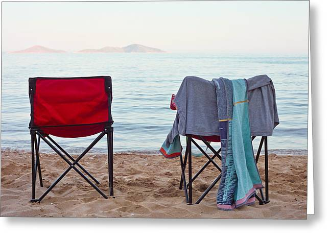 Family Time Greeting Cards - Deck chairs Greeting Card by Tom Gowanlock