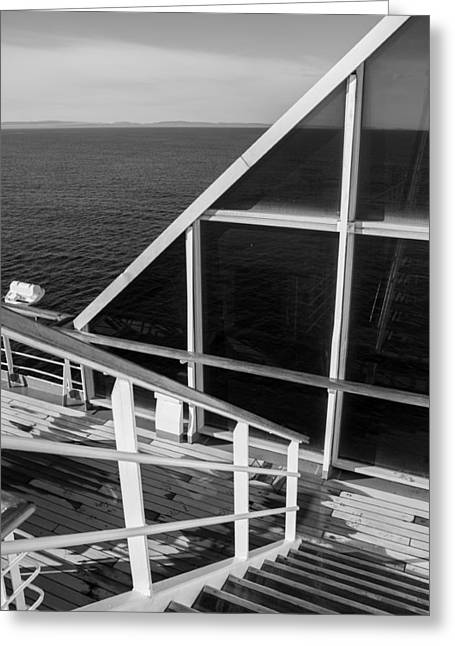 Wooden Stairs Greeting Cards - Converging Lines - b/w Greeting Card by Marilyn Wilson