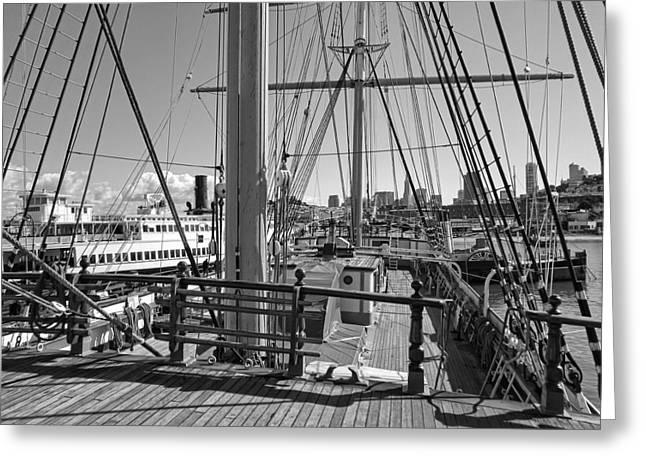 Historic Schooner Greeting Cards - DECK of BALCLUTHA 3 MASTED SCHOONER - SAN FRANCISCO Greeting Card by Daniel Hagerman