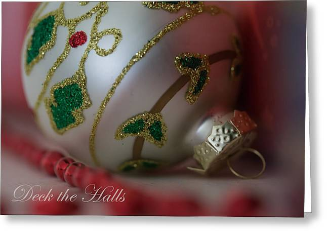 Golds Reds And Greens Greeting Cards - Deck the Halls Greeting Card by Angie Vogel