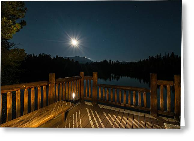 Hiking Greeting Cards - Deck Under Moonlight Greeting Card by Michael J Bauer