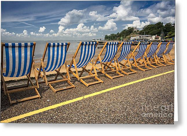 Deckchairs at Southend Greeting Card by Sheila Smart