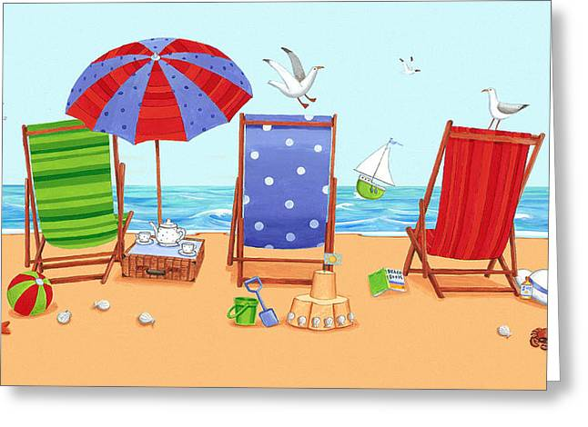 Deckchairs Greeting Card by Peter Adderley