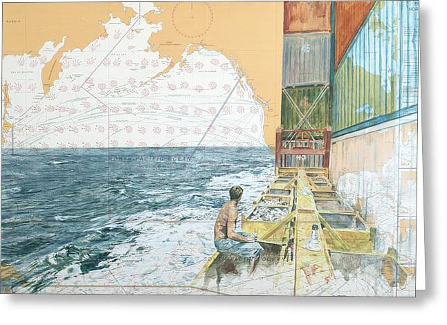 Deckwork At Sea Greeting Card by Martin  Machado
