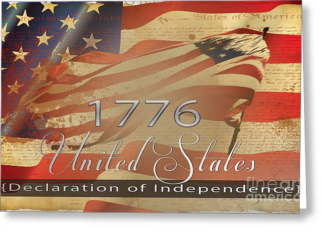 4th July Digital Art Greeting Cards - Declaration of Independence  Greeting Card by Beverly Guilliams