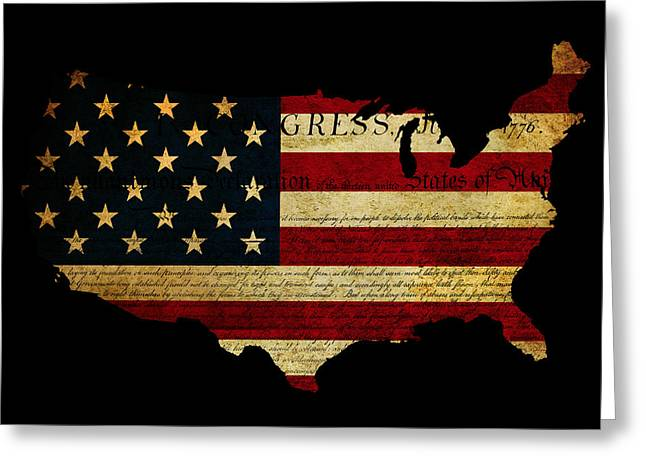 Flag Of Usa Greeting Cards - Declaration of Independence grunge America map flag Greeting Card by Matthew Gibson
