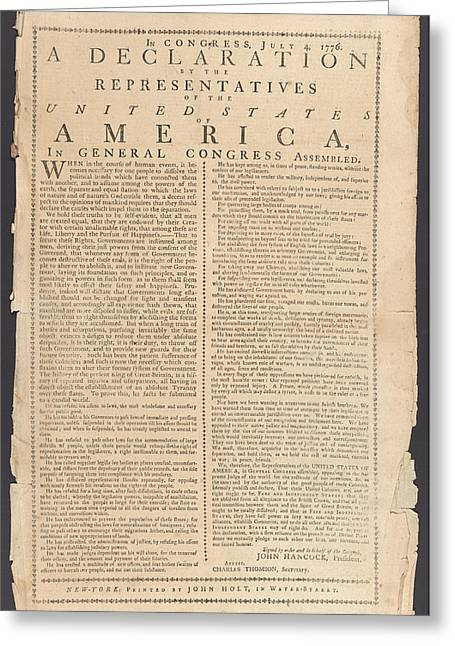 Recently Sold -  - 4th July Greeting Cards - Declaration Of Independence Greeting Card by Paul Van Scott