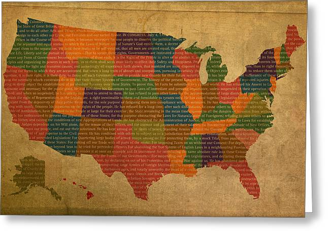 Declaration Of Independence Mixed Media Greeting Cards - Declaration of Independence Word Map of The United States of America Greeting Card by Design Turnpike