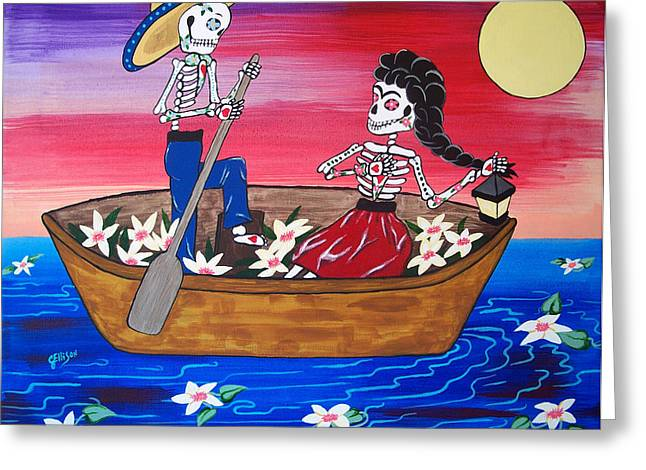 Wedding Couple Day Of The Dead Dia De Los Muertos Anniversary Gift Te Amo Prisarts Pristine Cartera Turkus Bride Flowers Blooms Love Mexican Art Folk Town For Sale Original Greeting Cards - Declaring My Love Frida Kahlo and Diego Riveras Greeting Card by Julie Ellison
