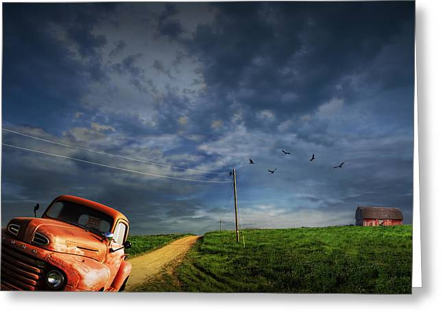Old House Photographs Greeting Cards - Decline of the Small American Farm Greeting Card by Randall Nyhof