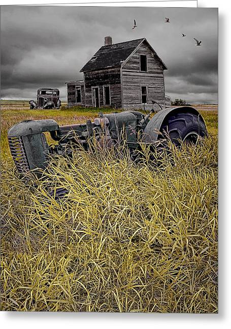 Decline Of The Small Farm No 2 Greeting Card by Randall Nyhof