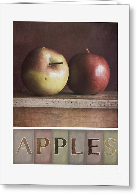 Yellow Apples Greeting Cards - Deco Apples Greeting Card by Priska Wettstein