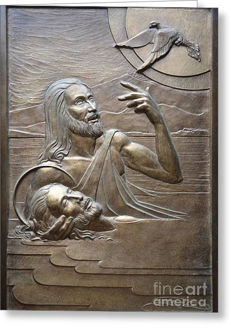 Sacred Art Reliefs Greeting Cards - Deco Baptism Greeting Card by Jeremiah Welsh