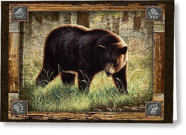 Cabin Greeting Cards - Deco Black Bear Greeting Card by JQ Licensing