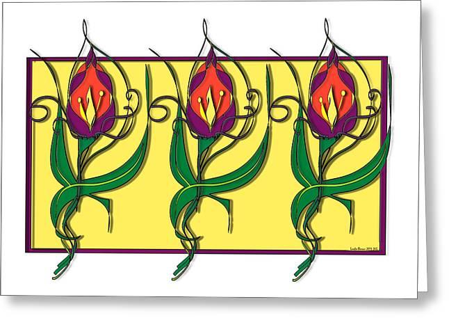 Erte Greeting Cards - Deco Flowers Greeting Card by Londie Benson