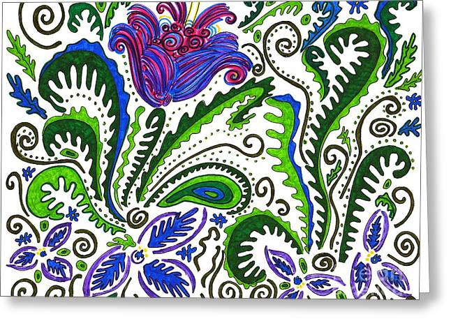 Joyful Drawings Greeting Cards - Deco Garden Greeting Card by Sarah Loft