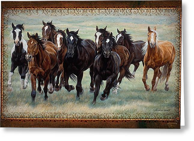 Michelle Grant Greeting Cards - Deco Horses Greeting Card by JQ Licensing