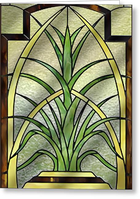 Potted Plant Digital Art Greeting Cards - Deco Inspired Pattern Greeting Card by Chuck Staley
