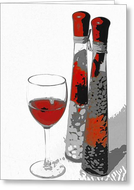 Wine Deco Art Digital Art Greeting Cards - Deco wine 2 Greeting Card by Darrell Arnold