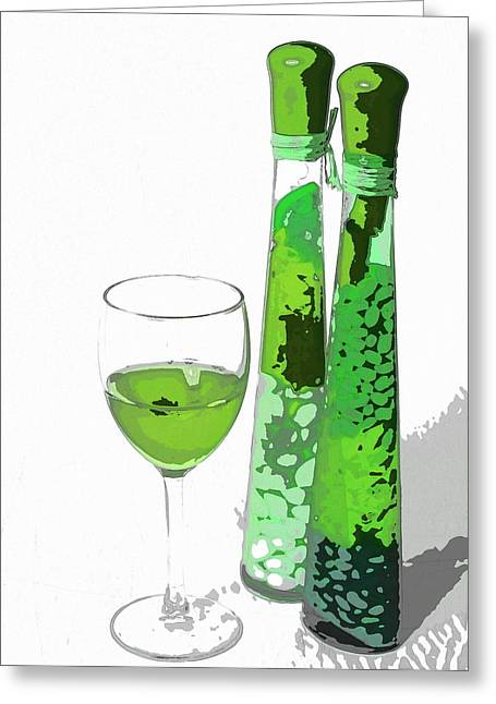 Wine Deco Art Digital Art Greeting Cards - Deco wine Greeting Card by Darrell Arnold