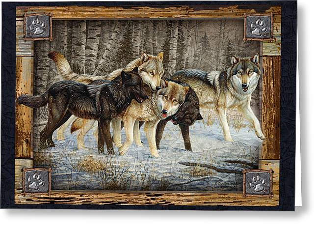 Howling Greeting Cards - Deco Wolves Greeting Card by JQ Licensing