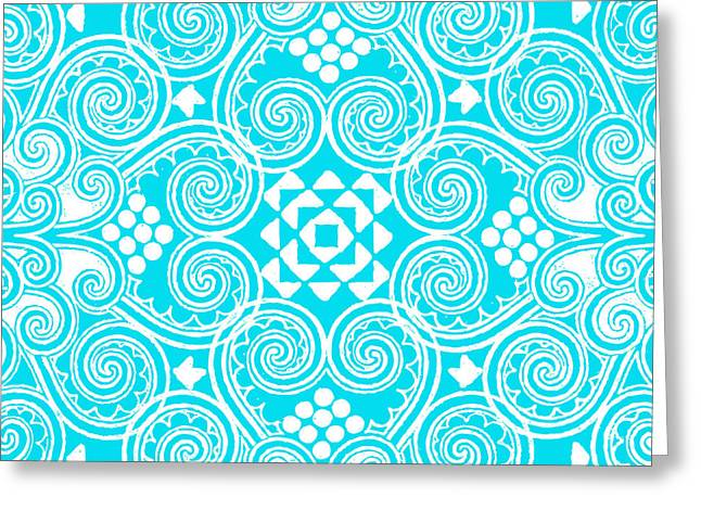 D Greeting Cards - Decographic light blue Greeting Card by Budi Kwan