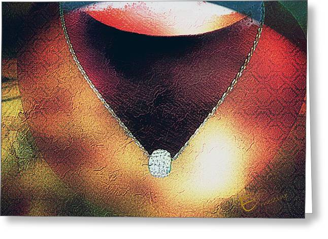 Gold Necklace Greeting Cards - Decolletage Greeting Card by Ernestine Manowarda