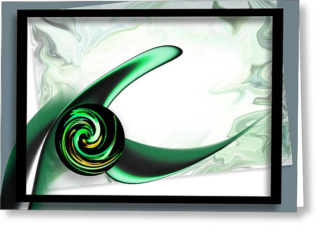 Deconstructed Greeting Cards - Deconstructed Abstract Green Greeting Card by Kathryn L Novak