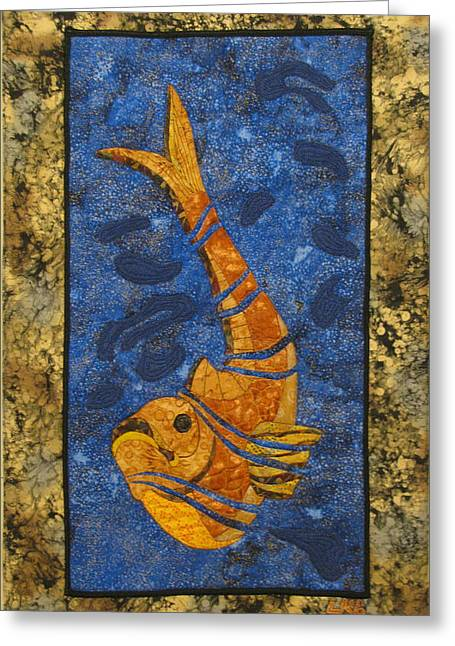 Wildlife Tapestries Textiles Greeting Cards - Deconstructed Fish Greeting Card by Lynda K Boardman