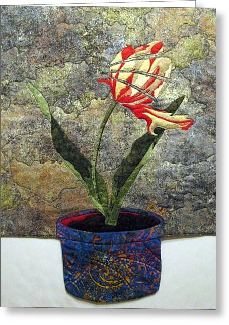 Still Life Tapestries Textiles Greeting Cards - Deconstructed Tulip Greeting Card by Lynda K Boardman