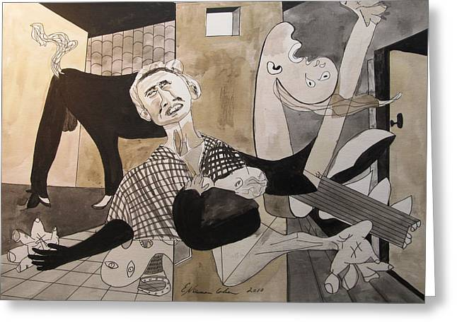 Deconstructed Greeting Cards - Deconstructing Picasso - La Agonia Espanola Greeting Card by Esther Newman-Cohen